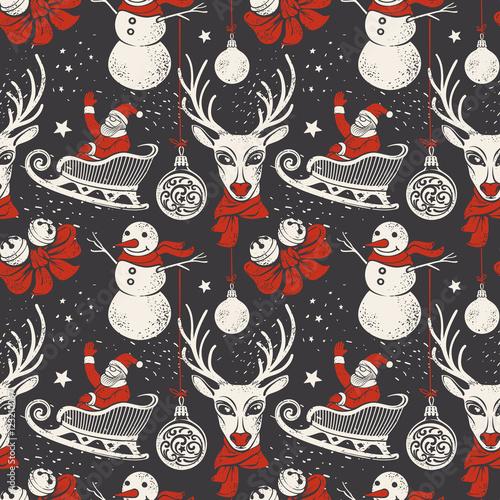 Materiał do szycia Bożonarodzeniowe ręcznie rysowane tła z jelenia, Sanie Mikołaja i bałwan