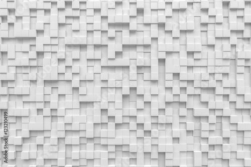 Fototapeta white small box cube random background pixel pandom 3d rendering