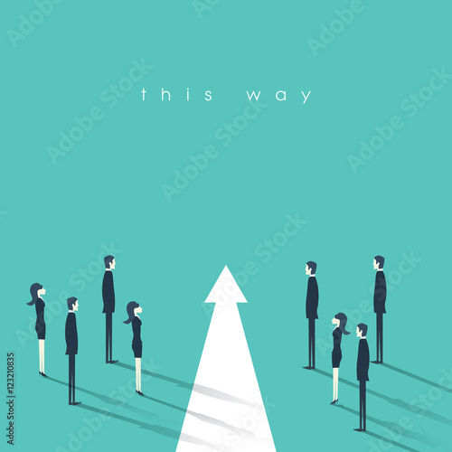 Teamwork And Leadership Business Concept Vector Illustration Symbol