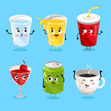 Cartoon funny drink characters isolated vector illustration. Funny drink face icon. Hot and ice drink emoji. Funny juice, laughing coffee. Cartoon emoticon face of cute drink. - 123215607