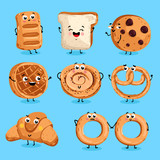 Cartoon funny bakery characters isolated vector illustration. Funny food face icon. Bakery emoji. Funny cookies, laughing bread. Cartoon emoticon face of food. Gloomy croissant, pretzel shy.