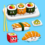 Cartoon funny sushi foods characters isolated vector illustration. Funny food face icon. Sushi emoji. Funny roll, laughing sushi. Cartoon emoticon face of Japaneese food.