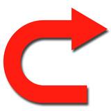 左から右に曲がる矢印のイラスト 赤