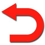 右から左に曲がる矢印のイラスト 赤