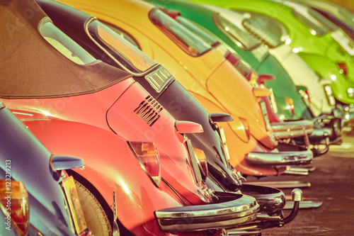 Sticker Row of colorful classic cars