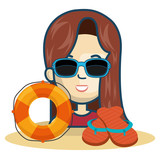avatar woman smiling wearing sunglasses with flip flops and float. summer vacations theme over white background. vector illustration