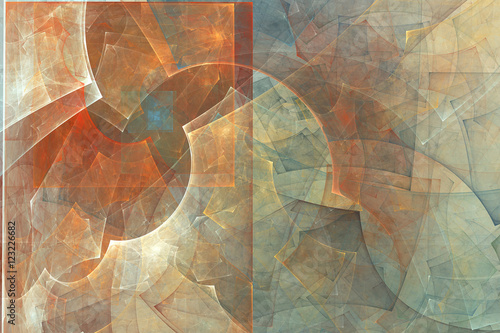 Fototapeta Abstract fractal background. Abstract painting in pastel colors viewed like a cave images. Textured image in rose, blue, cyan, red colors. For your creative design.