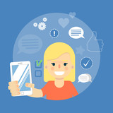 Smiling cartoon girl holding smartphone on blue background with communication icons, vector illustration. Social media concept. Connecting people, social networking, virtual communication