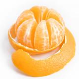 Ripe sweet tangerine with peeled skin