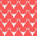 Christmas cartoon deer pattern. Original december background. Vector illustration.