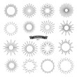 Vector sunburst black set isolated on white background. Vector Illustration