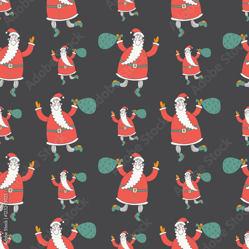 Materiał do szycia Merry Christmas and Happy New Year vector seamless pattern with Santa
