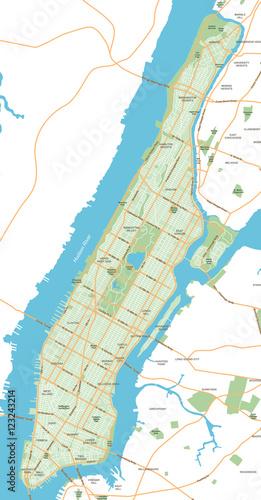 Manhattan - New York City Map - vector illustration