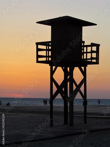 Poster Torretta di baywatch al tramonto