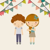 little kids in celebration party vector illustration design