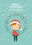 little kids in christmas celebration vector illustration design