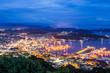 Sasebo downtown skyline at night, Nagasaki, Japan..