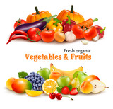 Background With Organic Fresh Vegetables. and Fruits Healthy Foo