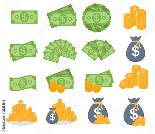 US Dollar Stack Paper Banknotes and Gold Coins Icon Sign Collect