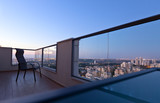balcony in downtown of modern city - 123256666
