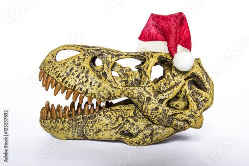 Plagát Cranio di Tirannosaurus rex con cappello natalizio