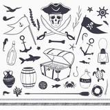 pirate set: pirate flag, skull, treasure chest, anchor, rope, fish vector nautical elements isolated on white