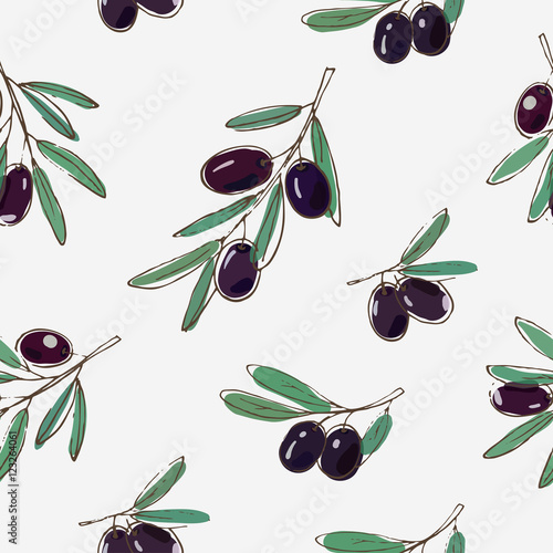 vector seamless pattern with black olives and leaves on white background - 123264061