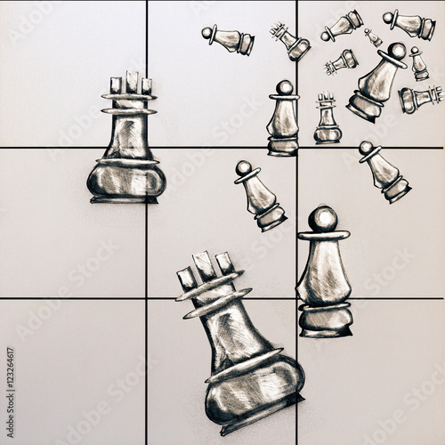 Fotografiet Chess figure sketchings