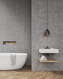 Bathroom with concrete walls