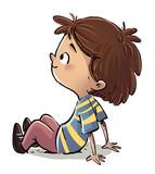 niño sentado feliz - 123286272