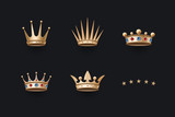 Set of royal gold crowns icons. Isolated luxury elements for branding, label, game, hotel, graphic design. Collection crowns for royal persons, king, queen, princess. Vector Illustration