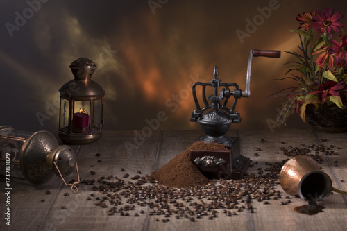Coffee still life in rustic style