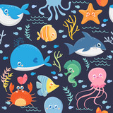 Seamless pattern of sea life. Funny sea animals. Vector collection
