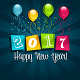Happy new year 2017 greeting card with party balloons