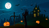 Vector illustration. Halloween. Pumpkin Jack and the zombies hand on background of the old house, cemetery and full moon.