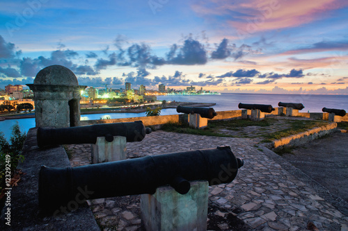 Poster Havana skyline and bay entrance taken from el Morro Fortress