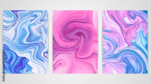 Three paintings with marbling. Marble texture. Paint splash. Colorful fluid. It can be used for poster, brochure, invitation, cover book, catalog. Size A4. Vector illustration, eps10.