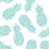 Fototapety Pineapple vector seamless pattern for textile, scrapbooking or wrapping paper.