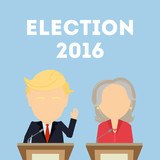 October. 03, 2016. American presidential election. Two politicians standing on blue background. 2016 election campaign. Woman politician in red suit. Hillary Clinton and Donald Trump