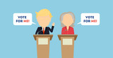 Russia October. 10, 2016. Debates on election. Two speaker on tribunes. Vote for me. Concept of voting, ellection and balloting. Election campaign. Donald Trump and Hillary Clinton