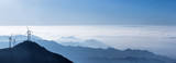 panoramic view of the blue ridge mountains and wind turbines - 123309203