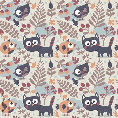 seamless-sliczny-zwierzecy-jesien-wzor-robiony-kot-ptak-kwiat-roslina-lisc-jagoda-serce-przyjaciel-kwiatowy-natura-zoladz-grzyb-czesc-kotek
