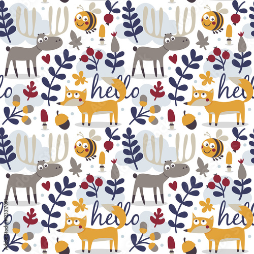 Cotton fabric Seamless cute animal autumn pattern made with fox, deer, moose, bee, flower, plant, leaf, berry, heart, friend floral nature acorn mushroom hello
