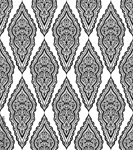 Beautiful vector ethnic seamless pattern. Vintage background. Mandala style. Repeat textile design elements. Hand drawn print. Cute texture with curls and swirls. - 123320094