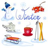 winter set. sport and recreation