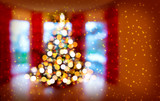 Christmas Tree Bokeh Background .