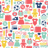 seamless pattern with kids shopping icons - 123333654