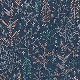 seamless pattern with minimalistic floral ornament - 123333670