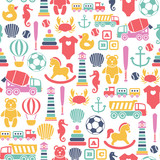seamless pattern with toys icons. isolated on white
