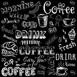 Fototapety Vector illustration hand drawn coffee to go, cups, mugs, beans a